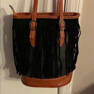Handbags - Black/gray fringe bucket purse
